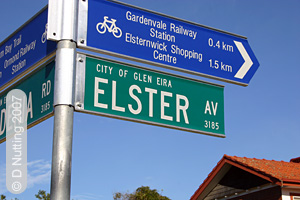 (Photo © D. Nutting) street sign in Elsternwick
